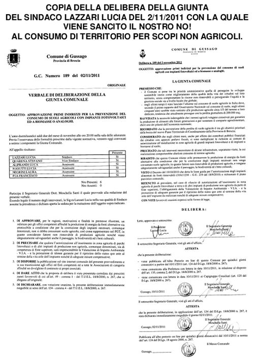 DELIBERA DI GIUNTA SINDACO LAZZARI - 2 NOVEMBRE 2011