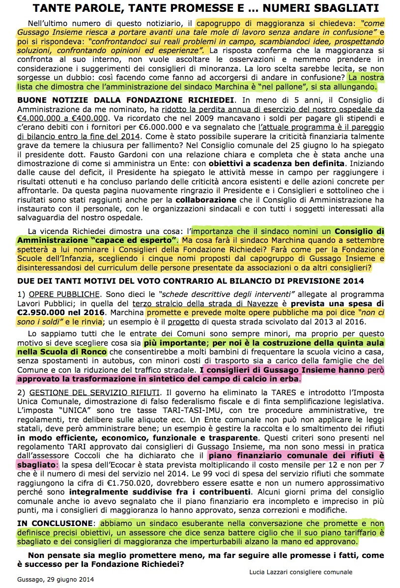 Gussago Notizie 2 numeri sbagliati