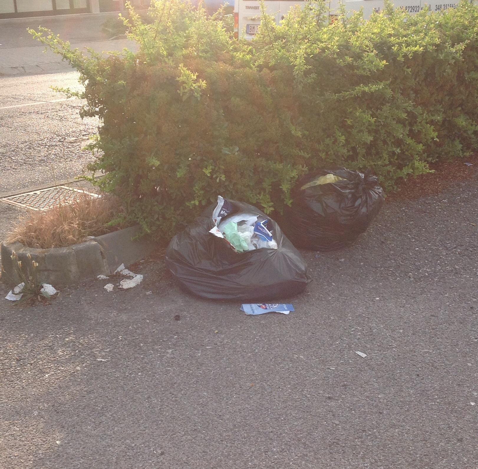 3 giugno via De Gasperi i sacchetti sono rimasti sul marciapiede almeno per 5 giorni