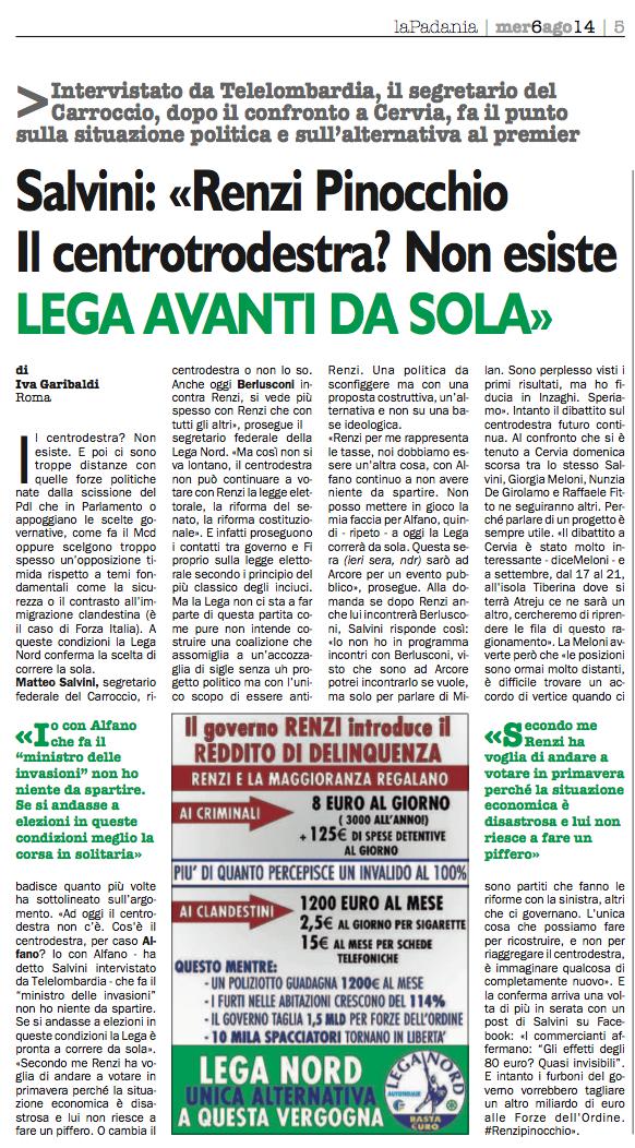 2014-08-06 la padania Matteo Salvini