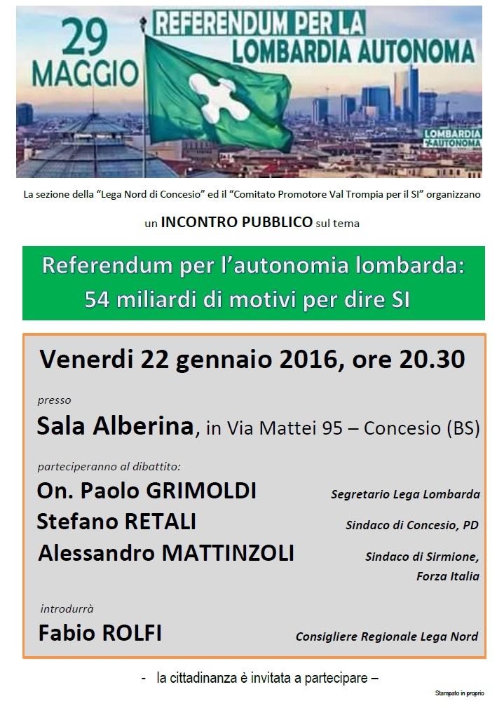 Lombardia Autonoma, Concesio 22.01.16